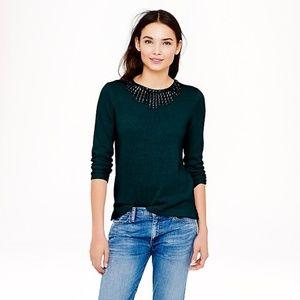 J.Crew Jeweled Starburst Sweater Wool Green